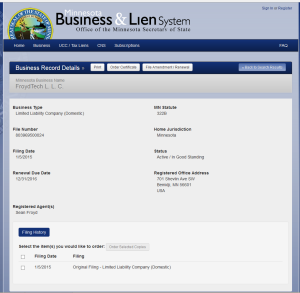 FroydTech, LLC business info on MN Site